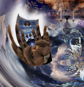 Surreal digital art. Eye on a human hand palms. Warped space and time. 3D rendering