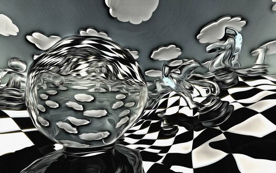 Abstract illustration of chess figures at play. 3D rendering
