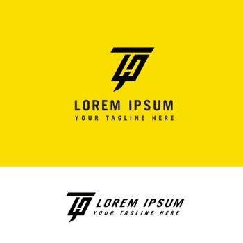 Minimalist modern line art letter HT logo design concept template.