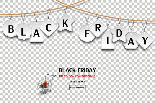 Black friday sale tag hanging on rope on transparent background,for advertising,shopping online,website or promotion,vector illustration