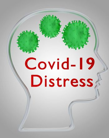 3D illustration of head silhouette containing the text Covid-19 Distress ubder three coronavirus particles , isolated over gray gradient.