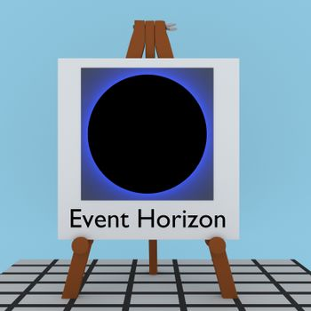 3D illustration of Event Horizon title under black hole virtualization on a tripod display board