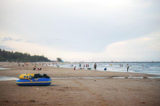 Banana boat on beach.