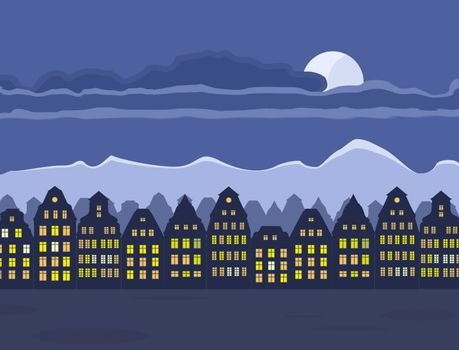 Vector illustration of old town at night. Night sky with moon