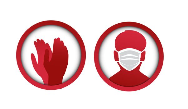 Vector illustration for graphic and webdesign, face with mask and gloves icon. Medical masks for face and hand protection