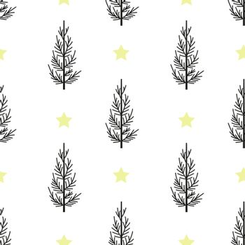 Vector illustration seamless pattern Christmas tree. Background Merry Christmas