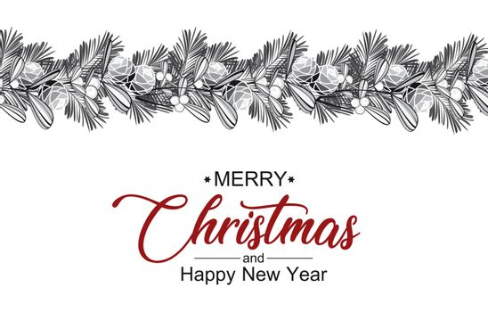 Vector illustration Christmas decorative branches with mistletoe. Christmas background