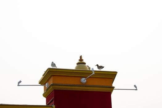 A Colorful Tower On a Building With Two Seagulls Sitting on it