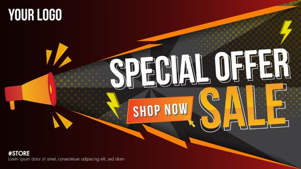 Special offer sale fire burn template discount banner promotion concept design, Big sale special 60% offer labels.End of season special offer banner shop now.