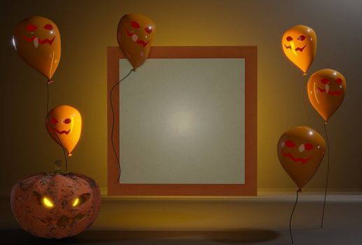 3d render illustration. holidays, decoration and party concept - scary Halloween. Black and orange balloons around a white board .  space for text
