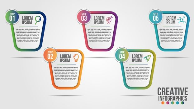 Infographic modern timeline design vector template for business with 5 steps or options illustrate a strategy. Can be used for workflow layout, diagram, annual report, web design, team work.