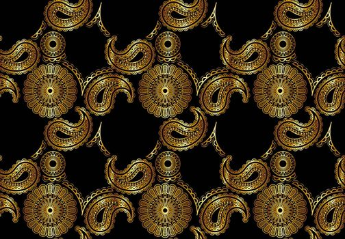 Abstract Seamless Golden Mandala Pattern on Black Background - Colored Repetitive Texture, Vector Illustration
