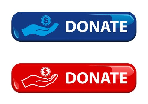 Shiny Donate Button for Your Website Projects in Red and Blue Color - Isolated Illustrations on White Background, Vector