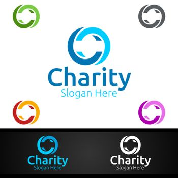 Letter C Helping Hand Charity Foundation Creative Logo for Voluntary Church or Charity Donation Design