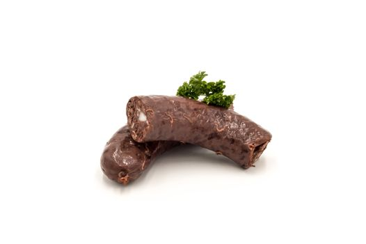 Black pudding blood sausage isolated