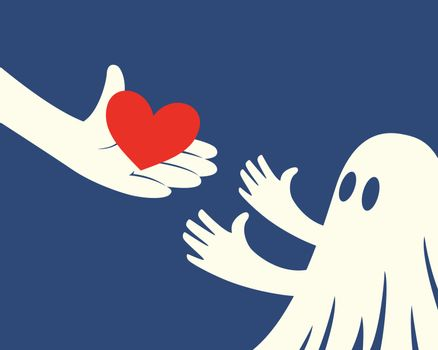 Close up of hand holding red Heart and a children with white ghost costume on blue background