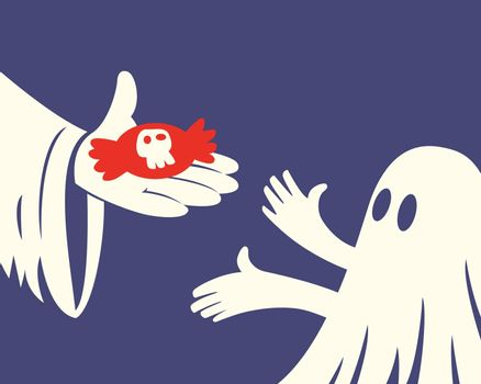 Close up of hand holding red Halloween candy and a children with white ghost costume on purple background