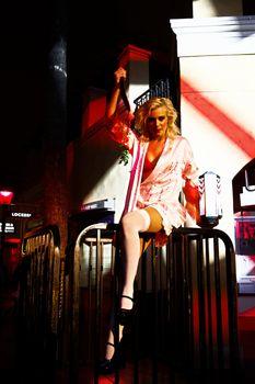 Burlesque dancer in Halloween costume at Universal Studios Hollywood.