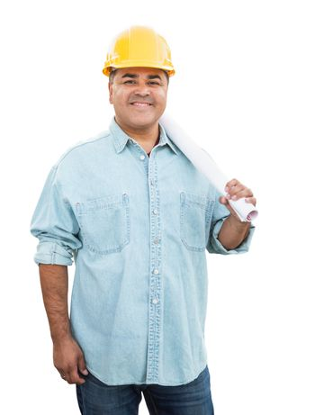 Hispanic Male Contractor In Hard Hat with Blueprint Plans Isolated on a White Background.