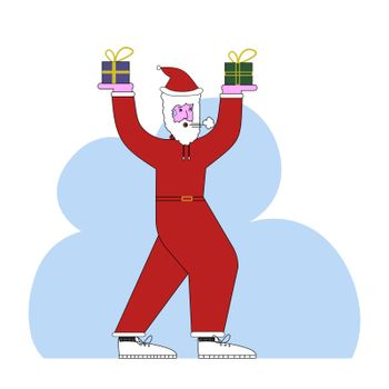 Santa Claus is engaged in gymnastics, using gifts as inventory. Vector illustration in flat style