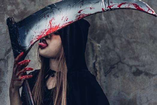 Woman ghost horror her have tongue lick scythe,