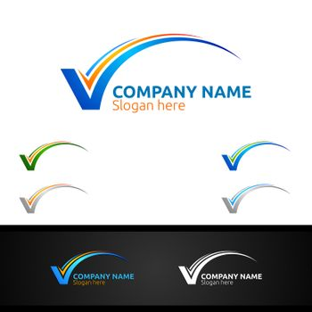 Letter V for Digital Vector Logo, Marketing, Financial, Advisor or Invest Design Icon