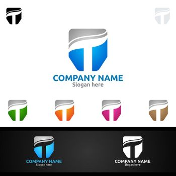 Letter T for Digital Vector Logo, Marketing, Financial, Advisor or Invest Design Icon