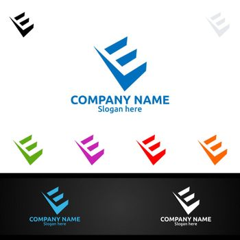 Letter E for Digital Vector Logo, Marketing, Financial, Advisor or Invest Design Icon