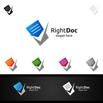 Document Sheets Logo Template.Check Doc File Paper Data Pixel Office or Contract and Agreement Vector