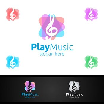Abstract Music Logo with Note and Play Concept