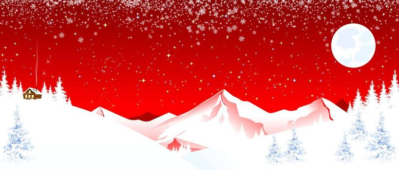 Winter night. Snow, forest, mountains. Shining stars, moon and snowflakes in the night sky. Small house on the mountain. Mountain winter landscape. Red background.