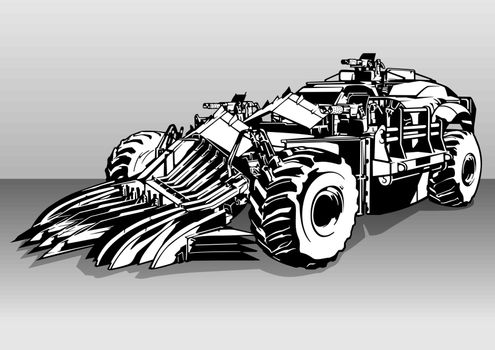 Armored Armed Post Apocalyptic Car - Black and White Illustration of an Off-road Car with Three Weapons, Vector