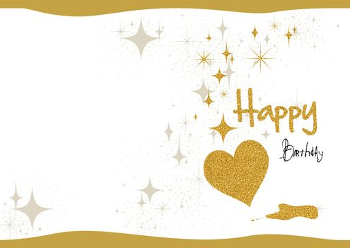 Birthday Card with Gold Glitter and Heart with Decorative Silver Stars on White Paper Background - Colored Illustration, Vector