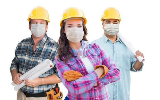 Female and Male Contractors In Hard Hats Wearing Medical Face Masks During Coronavirus Pandemic Isolated on White.