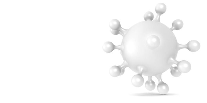 Corona virus cell isolated in white background, 3D rendering