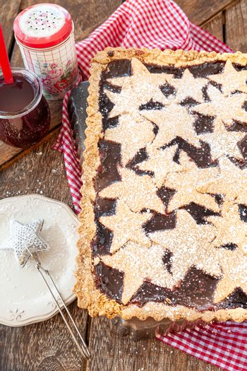 Linzer cake , filled with jam