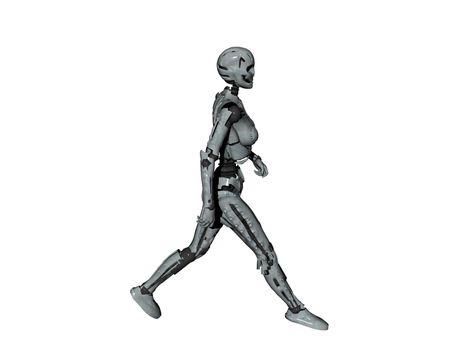 humanoid robot with steel skeleton