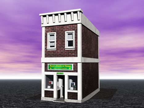 narrow grocery store with bookshop and shop window
