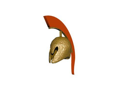 golden soldier's helmet with plume