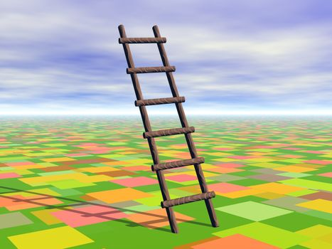 Ladder with rungs soars into the sky