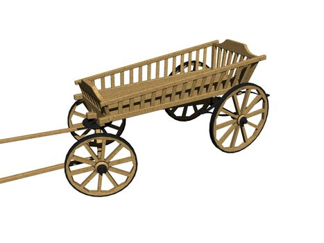 wooden cart with grille and drawbar