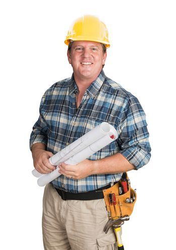 Male Contractor With House Plans Wearing Hard Hat Isolated on White.