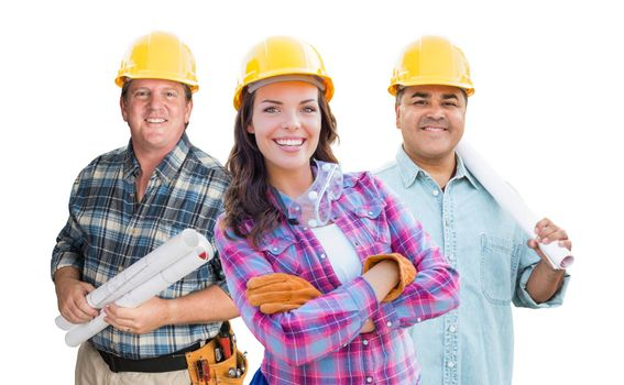Female and Male Contractors In Hard Hats Isolated on White Background.