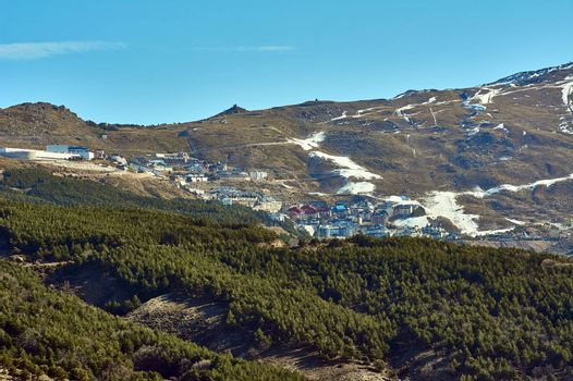 Ski resort, Sierra Nevada, beginning of the year with hardly any snow, open slopes, artificial snow, Granada, Andalusia, Spain