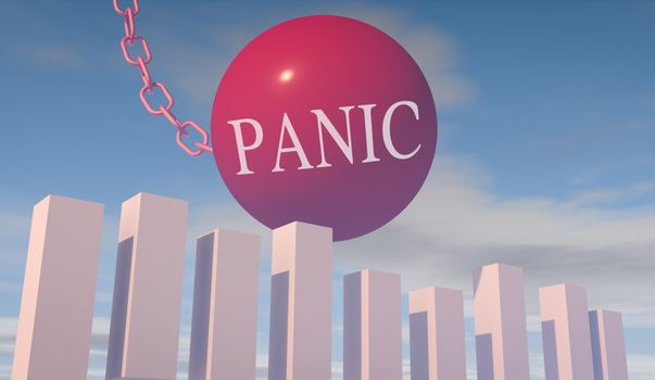 3D render illustration of financial stock market crash risk caused by panic
