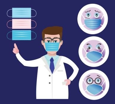 Round Face, Emoji set wearing a protective surgical mask and Doctor wearing a medical mask and pointing to it with her finger, healthcare concept.