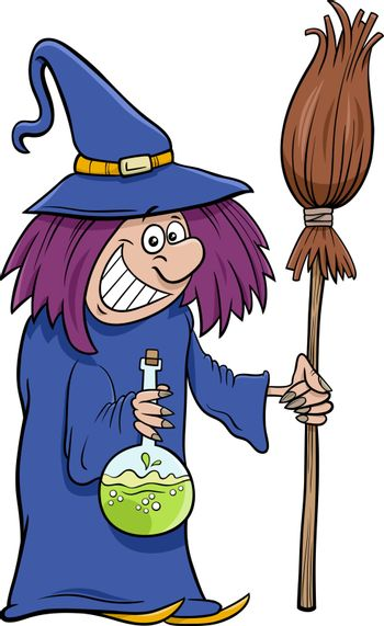 Cartoon Illustration of Funny Witch with Broom Halloween Character