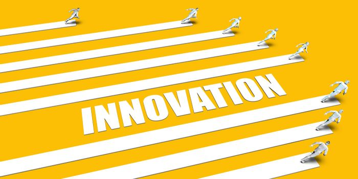 Innovation Concept with Business People Running on Yellow