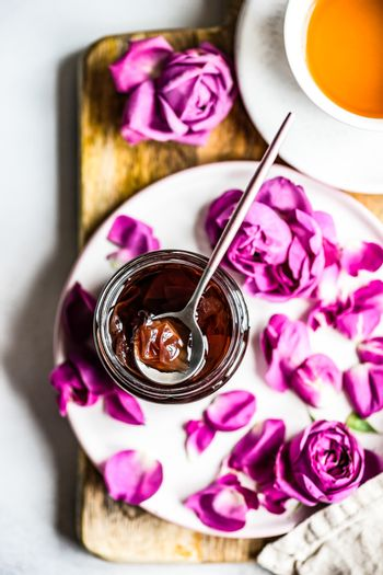 Dessert concept with tea drink and preserve