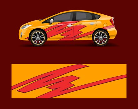Car decal graphic vector wrap vinyl sticker. Graphic abstract wave shape designs for branding, race and drift car template design vector